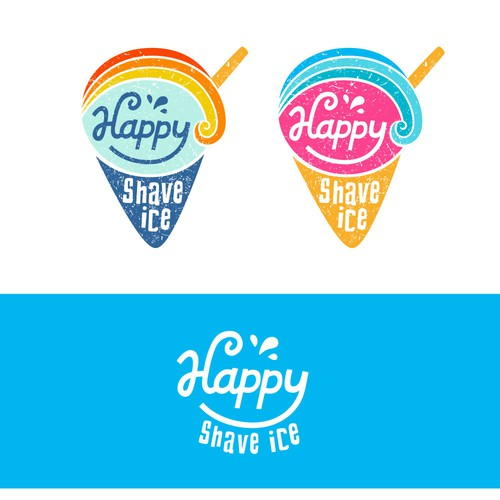 Fun + happy logo for a shave ice brand