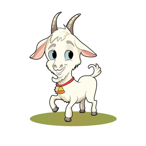 A cartoon goat. Funny and cute goat illustration.