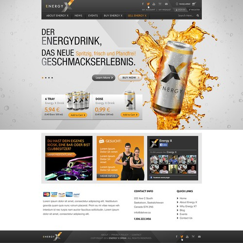 Design a stylish shop & website for an ENERGY DRINK!