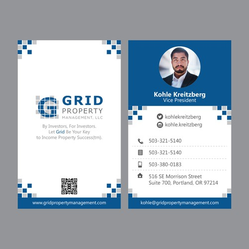 Business Card Design for Grid Property