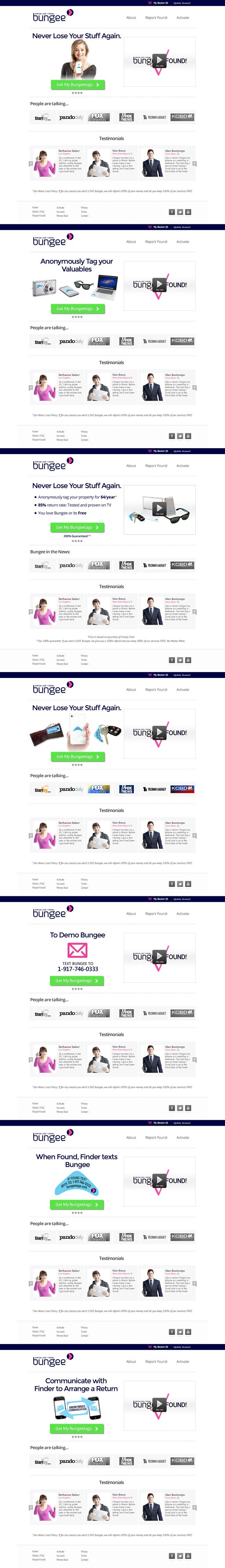 website design for Bungee Virtual Lost and Found (www.bungeetags.com)