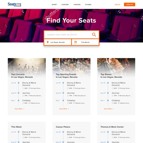 Landing page mockup for seats.com