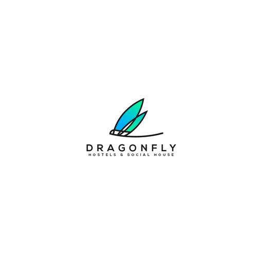 Logo concept for drangonfly hostels