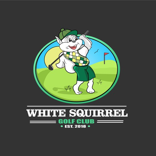 White golfing Squirrel character for golf club