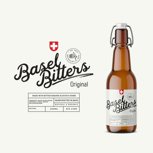 Product label for Basel Bitters Original