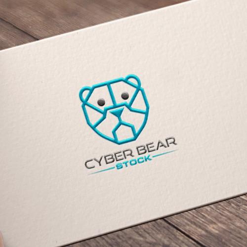 Hi tech monoline cyber bear logo concept