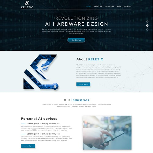 Landing page design for Keletic