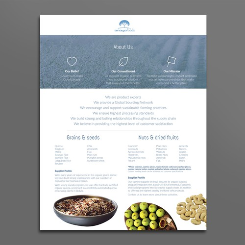 Sales sheet for Anaya Foods