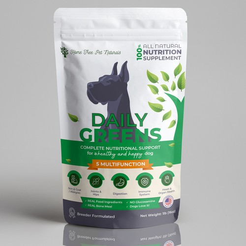 Package Design for an all Natural Food Supplement for Dogs