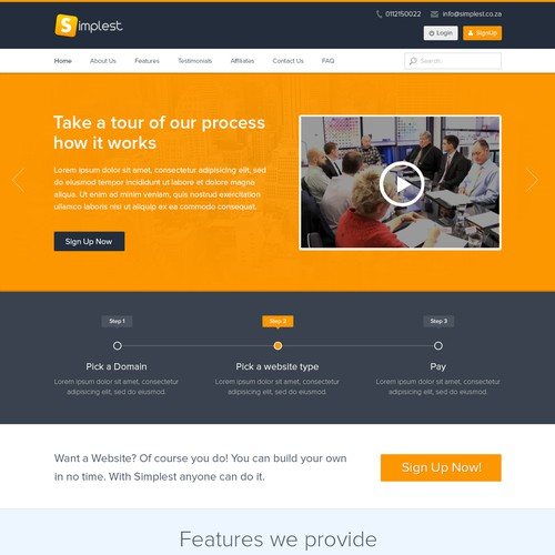 Build an awesome landing page for Simplest