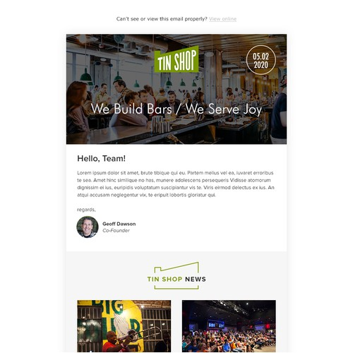 Email design for TinShop