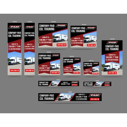 Keep on trucking! Create banner ads for truck driver recruitment.