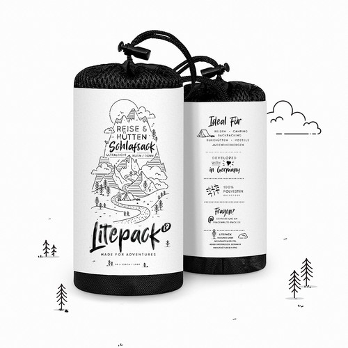 Illustrated label for a Sleeping Bag