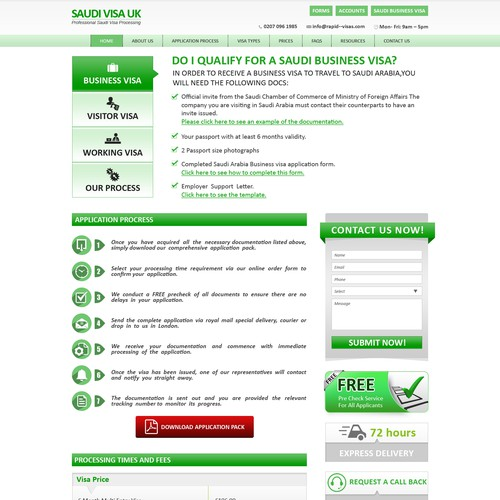Clean and basic website design for visas