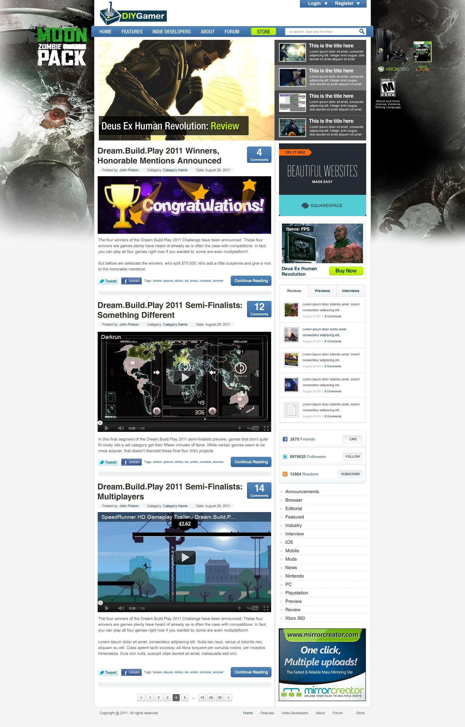 DIYGamer.com, a large video game blog, needs a streamlined design