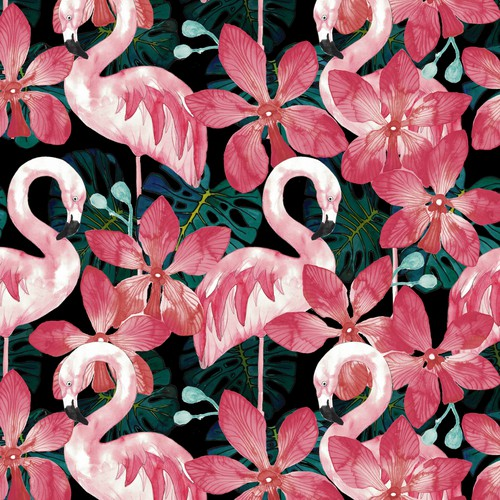 Seamless jungle textile pattern with flamingos
