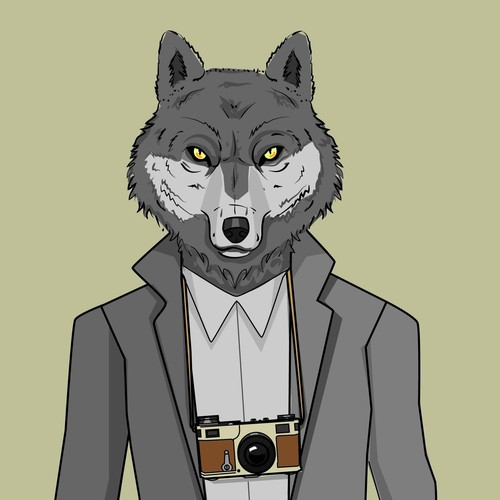 Create a strong male wolf surrounded by photography.
