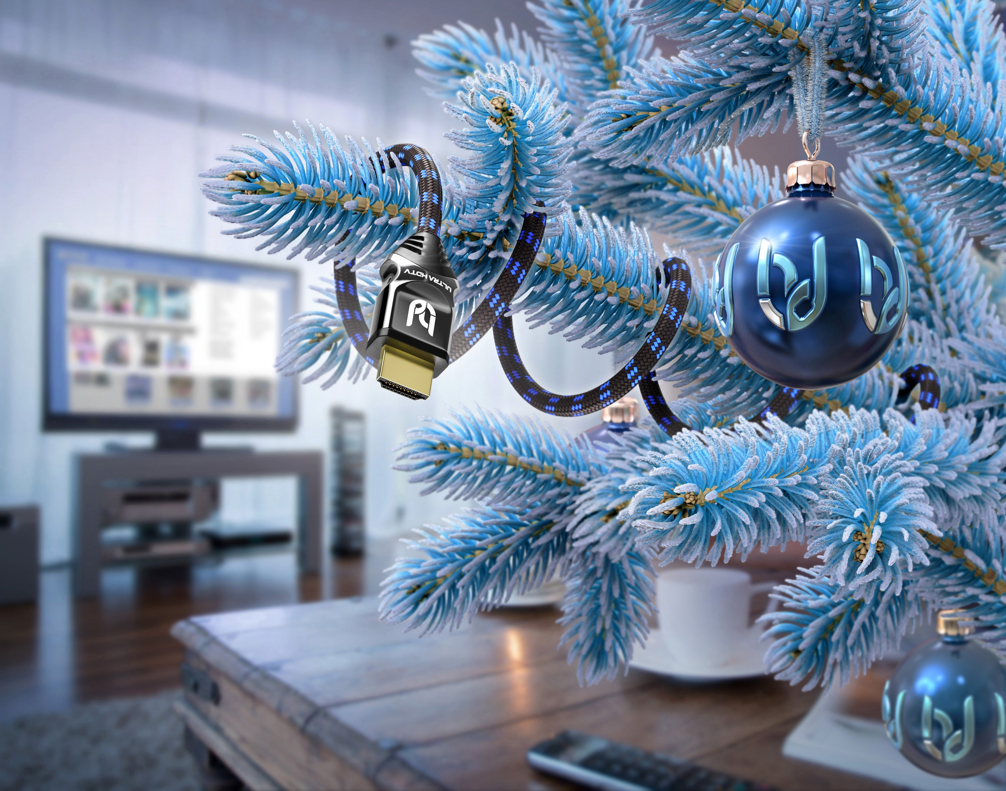 Create an HDMI cable image on a Christmas tree.
