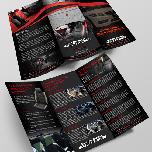High End Auto Restyling Custom Auto Shop Needs TriFold Brochure