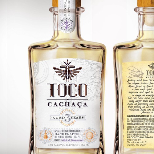 Cachaca Label Design. AWARDED SILVER MEDAL FOR LABEL DESIGN
