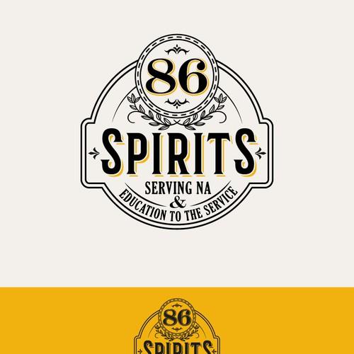 Vintage Retro badge non alcoholic spirits drink logo design