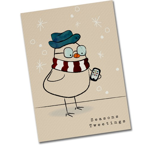 Unique Holiday Card with Hipster Bird