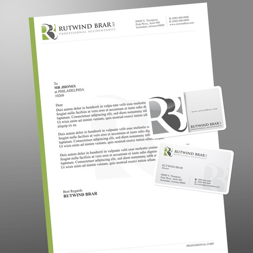 Create the next stationery for Rutwind Brar LLP Professional Accountants