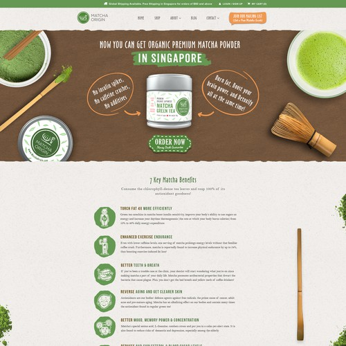 1-to-1 Project: Fun and Warm Website design for a Matcha Tea Subscription website - Home page