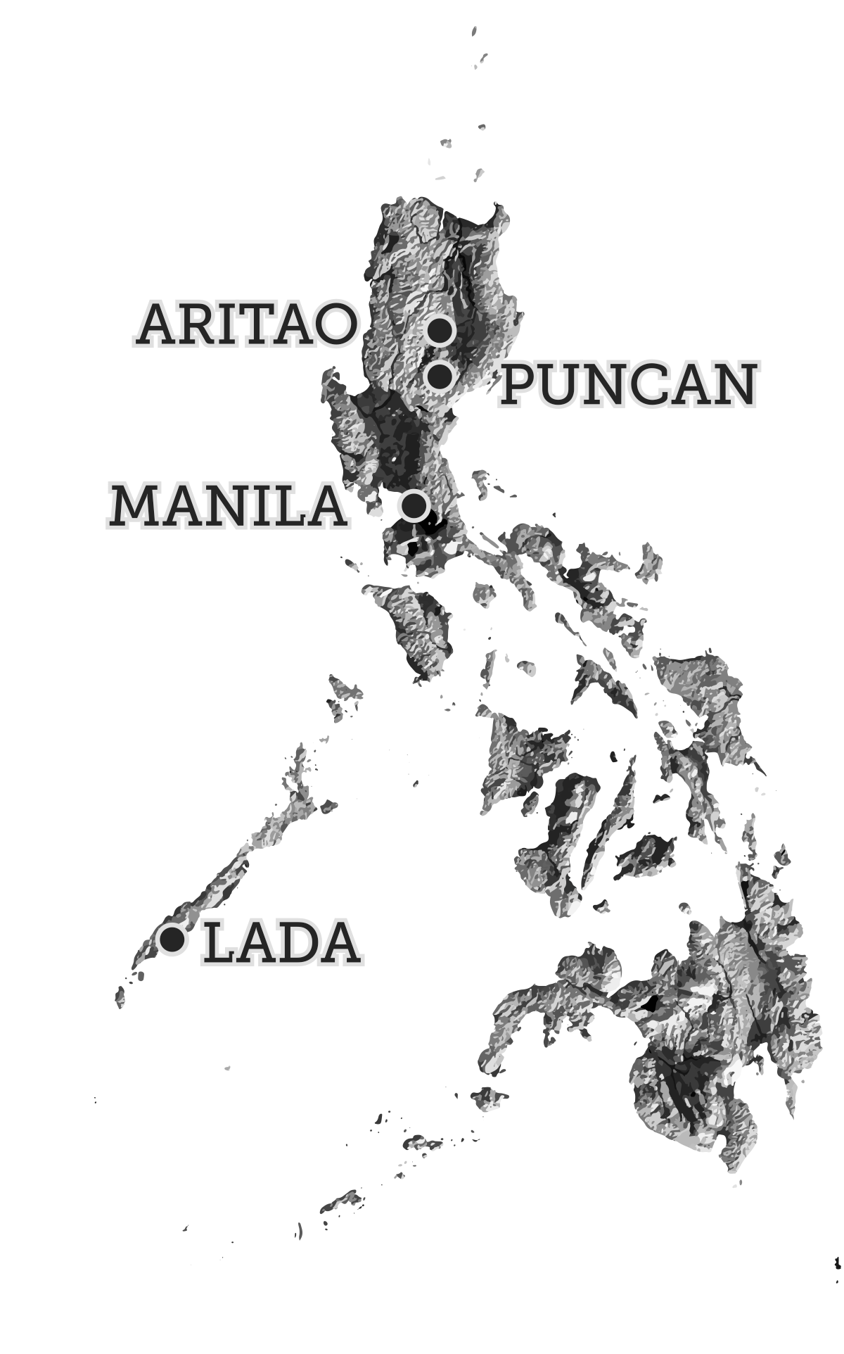 Philippine Islands Image with Topography and 4 Locations