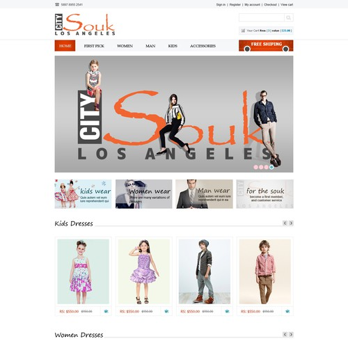 Homepage Design for Ecommerce Company - Apparel Website