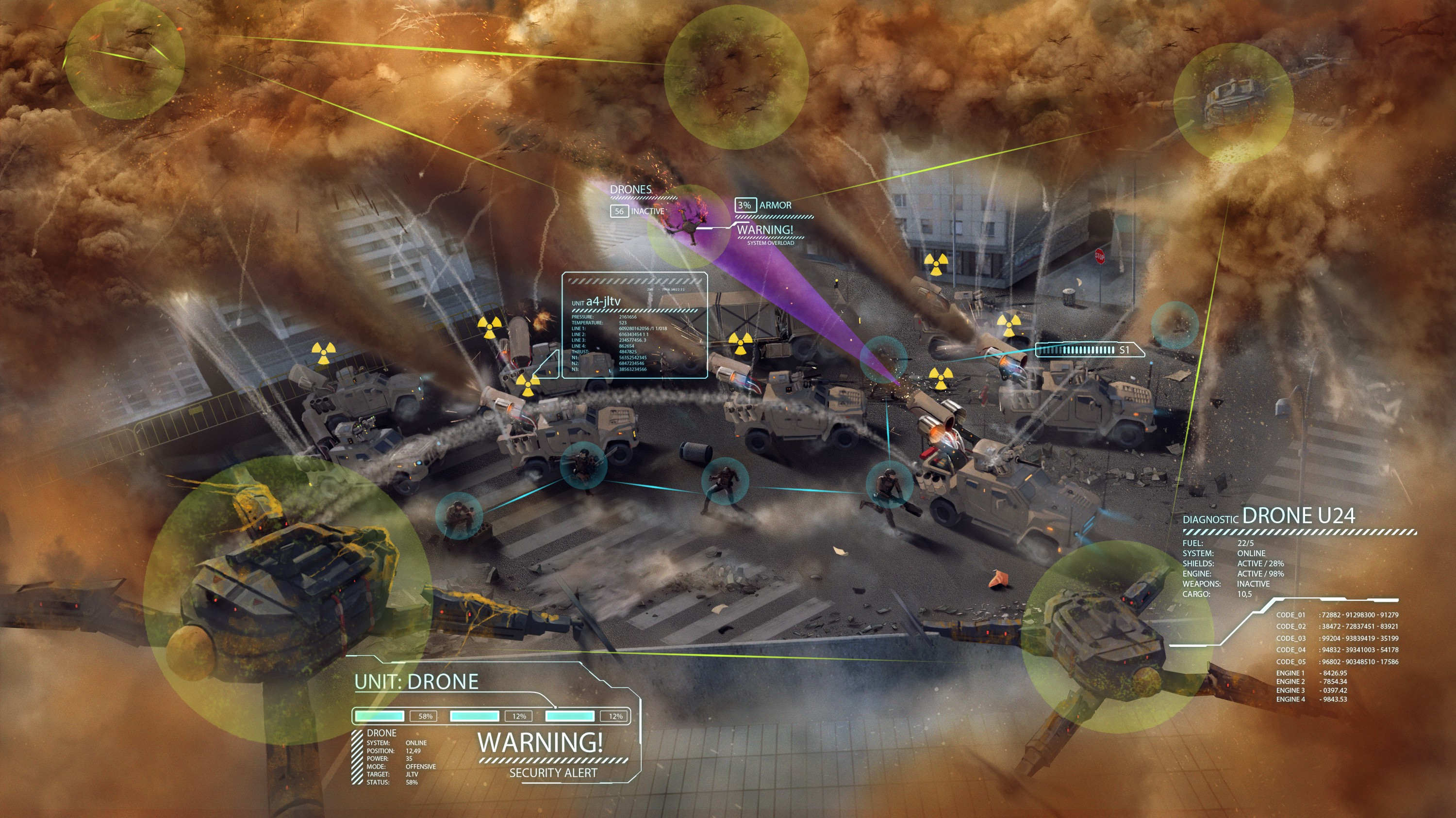 Illustrate a drone swarm attack and defense operation.