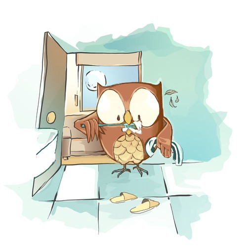 Owl illustration for children book