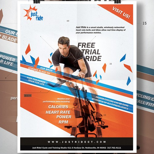 Create a promotional flyer for an area's first indoor cycling studio