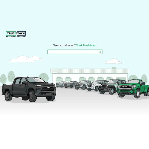 Website header illustration for a truck dealer business