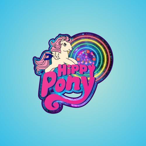 cartoon character logo for hippy pony