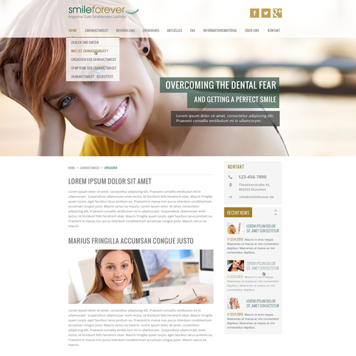 Modern and classy design for a Website about dental fear