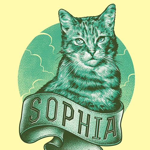 Fun, hip illustration of a cat!