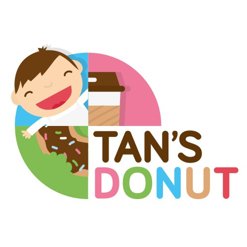 Cute illustrated logo design for a coffee and donut shop