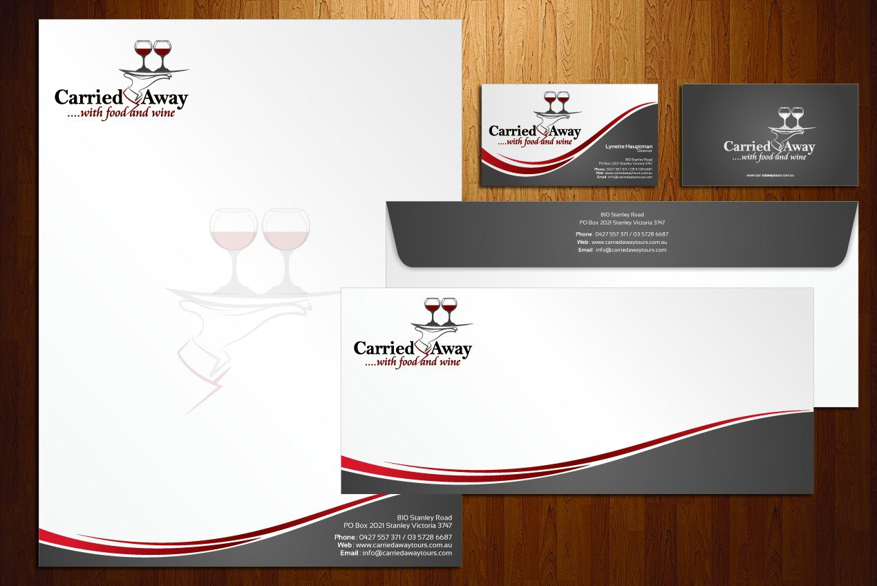 """Help """"Carried Away..., with food and wine,"""" with new stationery and brochure"""