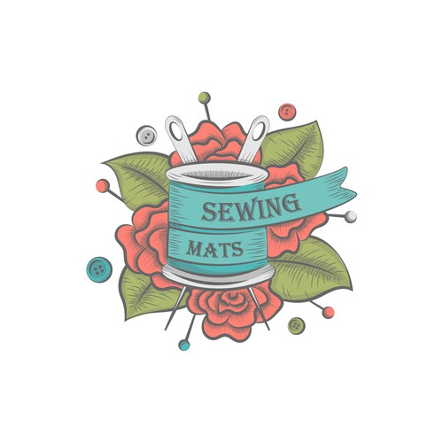 artistic logo for sewing business