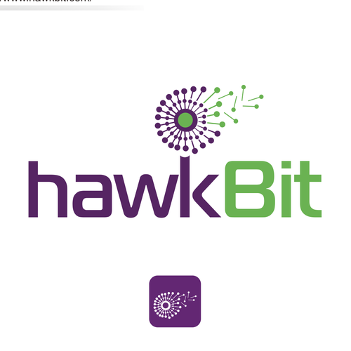 Logo with the concept of a dandelion in the style of techno to hawkBit