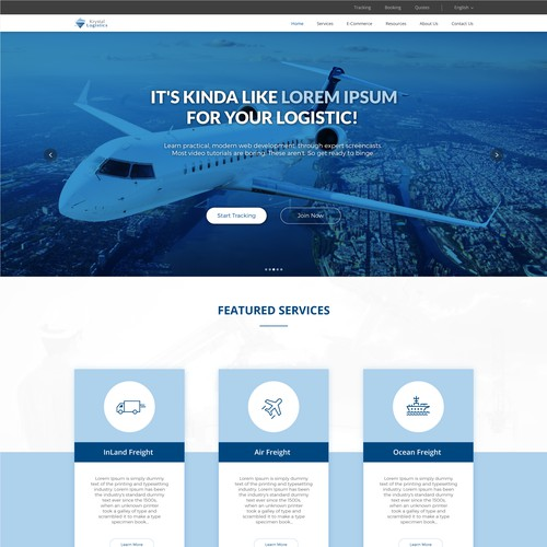 Website design concept for Cargo Service.