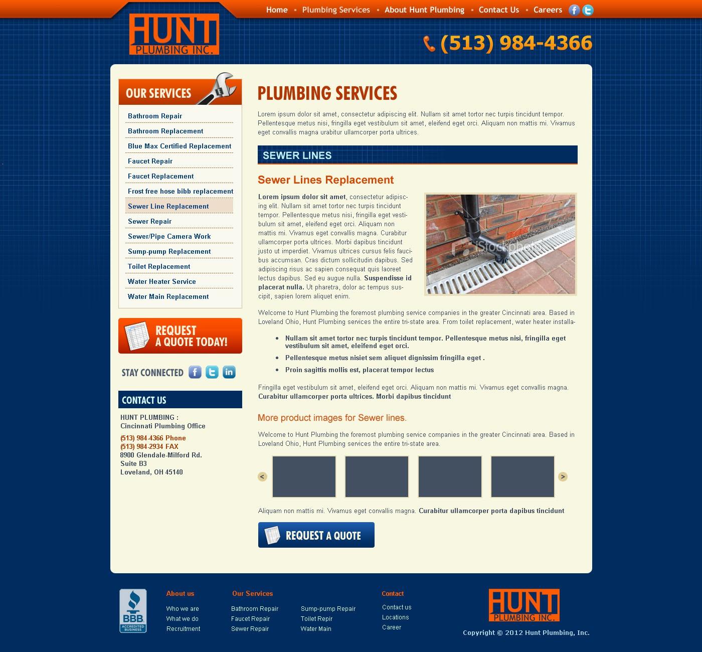 New website design wanted for Hunt Plumbing