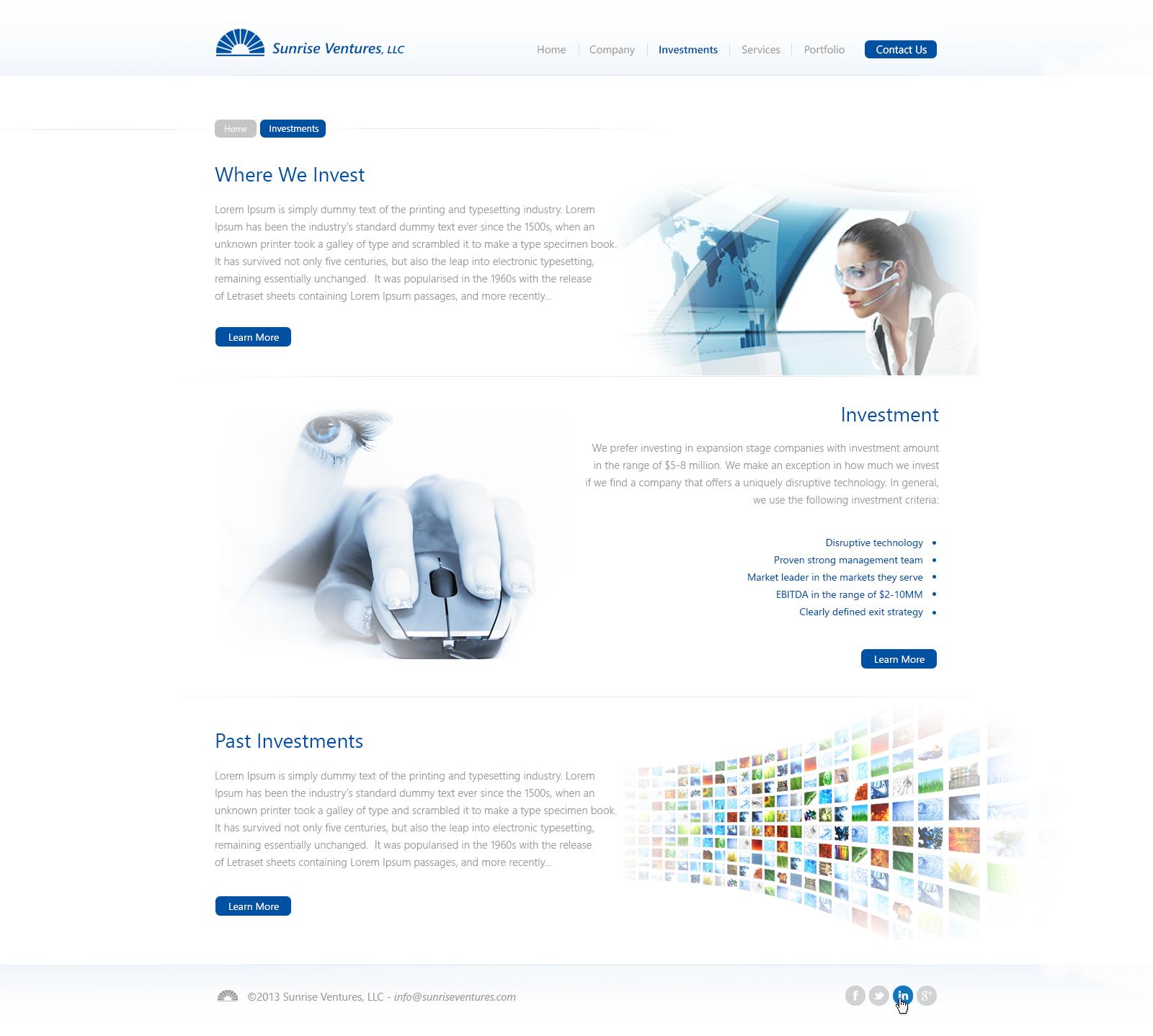 Create the next website design for Sunrise Ventures LLC