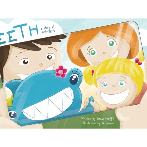 Book cover illustration - a story about the shark called Teeth who lives in human family.