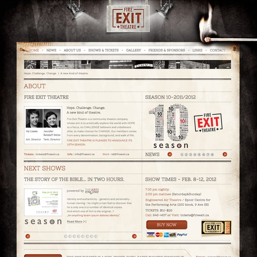 Create the next website design for Fire Exit Theatre