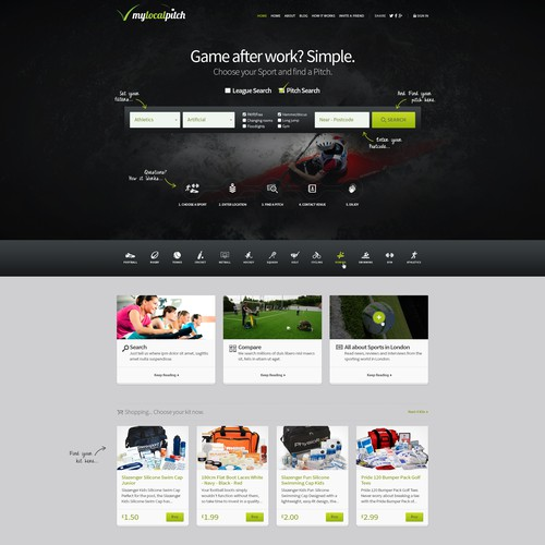 Create a landing page for sports based tech start-up in London