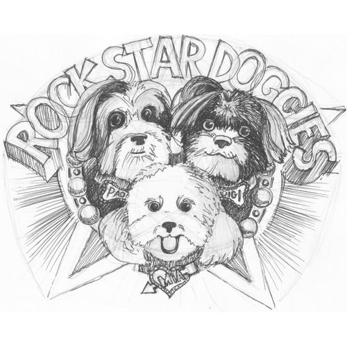 Create illustrated characters of Luigi, Mia & Paolo Rock Star Doggiesfor children's book.