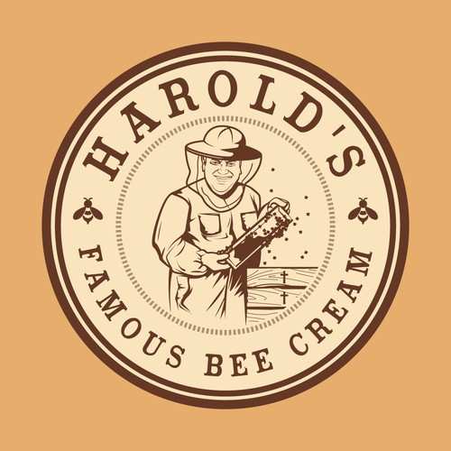 Logo concept for Harold's famous bee cream