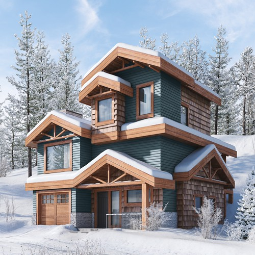 Exterior render for mountain house